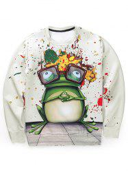 Paint Splatter Frog 3D Print Long Sleeve Sweatshirt