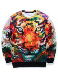 3D Animal Print Long Sleeve Round Neck Sweatshirt