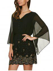 V Neck 3/4 Sleeve Rhinestone Dress - BLACK L
