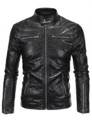 Zippered Spliced Stand Collar Faux Leather Jacket - BLACK