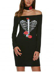 Long Sleeve Off The Shoulder Heart Print Dress - BLACK