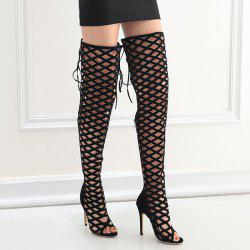 Hollow Out Lace Up Thigh Boots