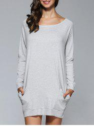 Long Sleeves Pocket Design Dress