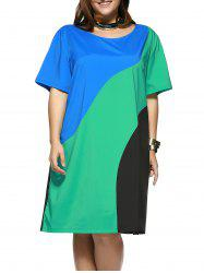 Plus Size Chic Color Block T-Shirt Shift Dress