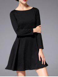 Slash Neck Long Sleeve Stretchy Work A-Line Dress - BLACK