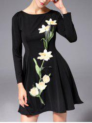 Slash Neck Long Sleeve Embroidered Mini A-Line Dress - BLACK 2XL