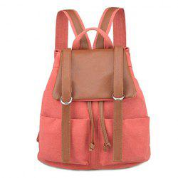 Colour Block Drawstring Splicing Backpack - ORANGEPINK