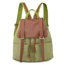 Colour Block Drawstring Splicing Backpack - CELADON