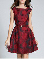 Boat Neck Jacquard A Line Semi Formal Dress