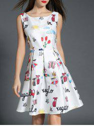 Boat Neck Printed A Line Dress -