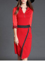 V Neck 3/4 Sleeve Slit Color Block Bodycon Dress - RED