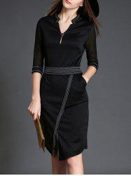 V Neck 3/4 Sleeve Slit Color Block Bodycon Dress