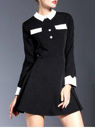 Contrasting Collar Long Sleeve Mini Dress -