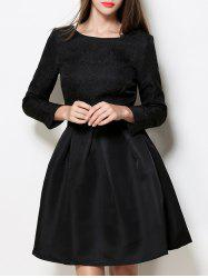 Boat Neck A Line Jacquard Dress