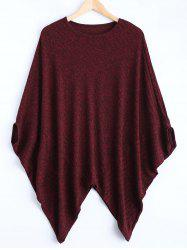 Dolman Sleeve Asymmetric Cape Sweater