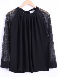 Tie Back Lace Sleeve Blouse -