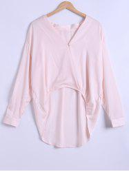Plung Neck Long Sleeve Chiffon High Low Blouse -