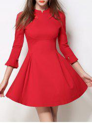 Mandarin Collar Fit and Flare Dress -