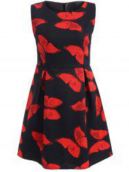 Sleeveless Butterfly Print A Line Dress -