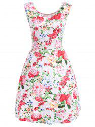 Retro Sleeveless U Neck Floral Dress -