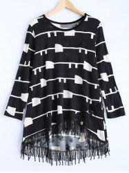 Geometric Pattern Asymmetric Fringed Sweater Dress -