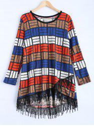 Multicolor Plaid Asymmetric Fringed Sweater Dress -