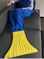 Super Soft Crocheté Poisson tricoté Queue Forme Blanket - Bleu M
