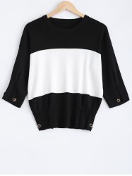 Drop Shoulder Color Block Pullover Sweater -
