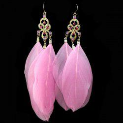 Rhinestone Feather Tassel Earrings - PINK