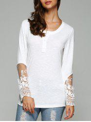 Dovetail Design Long Sleeve Tulle Spliced Blouse