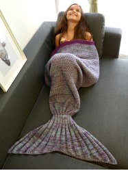Keep Warm Multi-Colored Knitted Mermaid Tail Design Blanket For Kid