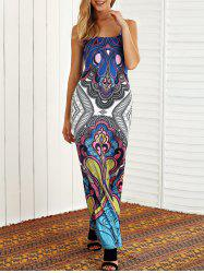 Open Back Tribal Print Maxi Dress