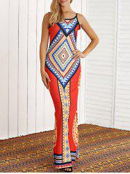 Tribal Print Open Back African Maxi Dress -