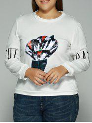 Printed Letter Embroidered Sweatshirt - WHITE