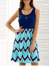 Sleeveless Wave Print Mini Dress -