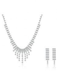 Layered Rhinestone Triangle Wedding Jewelry Set - SILVER
