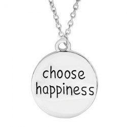 Engraved Choose Happiness Round Friendship Necklace