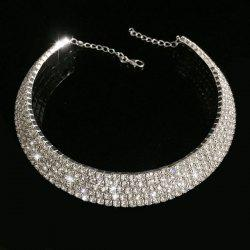 Alloy Rhinestoned Wedding Jewelry Choker Necklace - SILVER