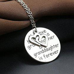 Engraved Love Forever Double Heart Pendant Necklace -