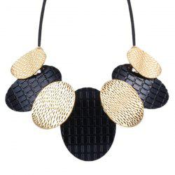 Faux Leather Rope Alloy Oval Necklace - BLACK