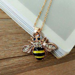 Rhinestone Alloy Honeybee Glaze Pendant Necklace - GOLDEN