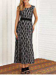 Lace Floral Sleeveless Maxi Evening Prom Dress -