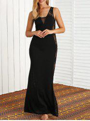 Lace Panel Sheer Maxi Prom Formal Dress