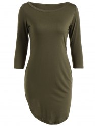 Casual Round Neck 3/4 Sleeve Side Slit T-Shirt Dress - ARMY GREEN L