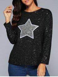 Star Sequins Long Sleeve Loose Top