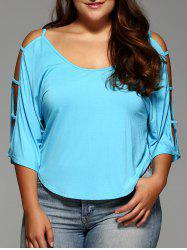 Plus Size Cut Out Sleeve Crop Top -