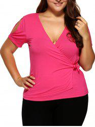 Plus Size Slit Sleeve Wrap Blouse -