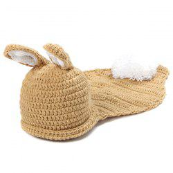 Crochet Baby Photography Little Rabbit Knitted Hooded Blanket - LIGHT COFFEE