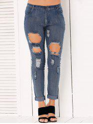 Button Fly Ripped Pencil Jeans - DENIM BLUE