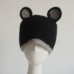 Bear Ear Knitted Animal Head Hat - BLACK